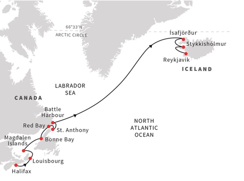 Expedition from Newfoundland and Lador to Iceland | Nordika Travel on map of newfoundland and prince edward island, map of newfoundland and labrador, map of newfoundland and nova scotia,