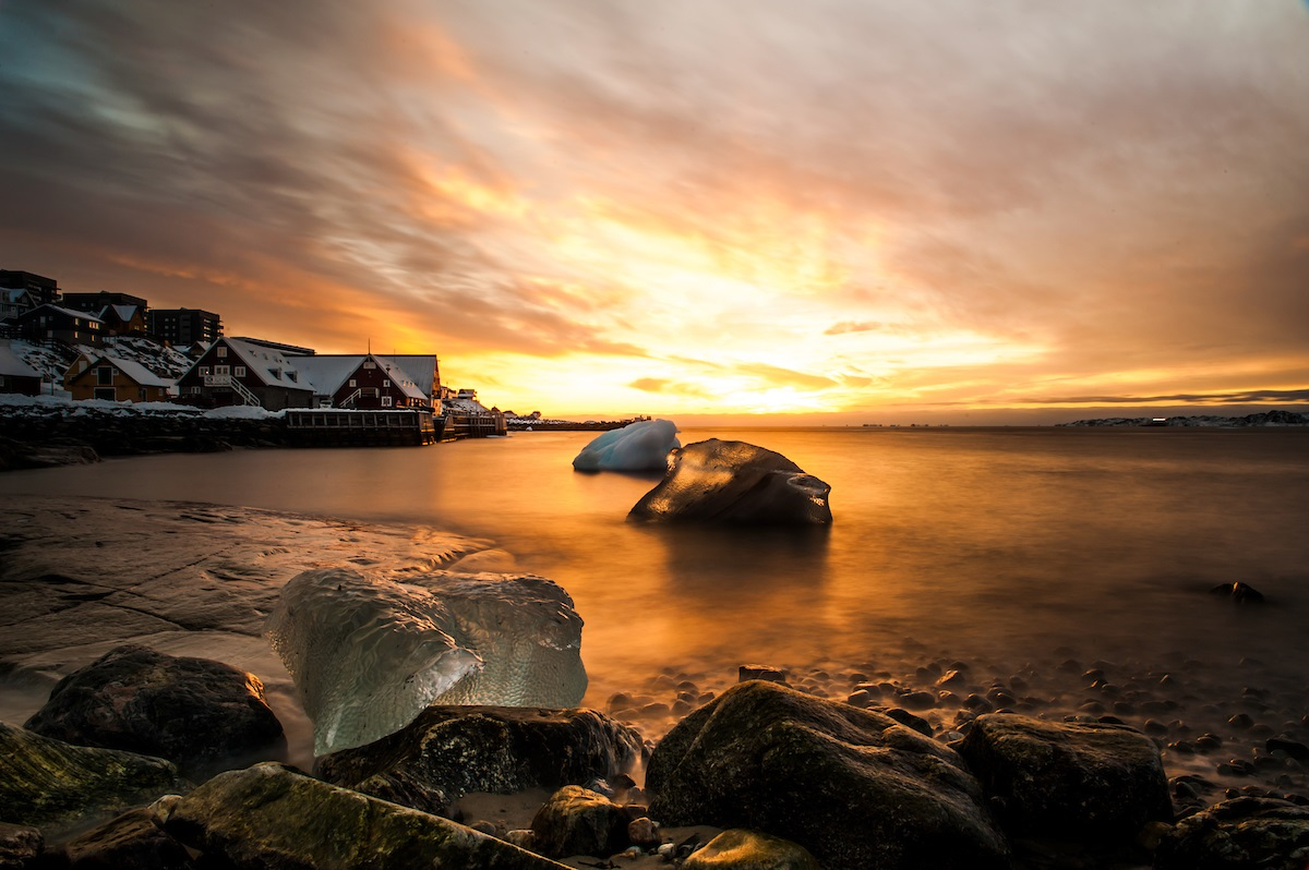 Sunset at the old colonial harbour in Greenland's capital Nuuk.jpg